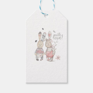 banny rabbit couple 2 gift tags