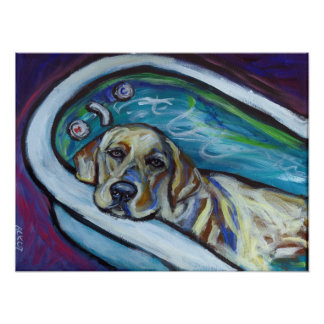 Baño amarillo de Labrador Póster