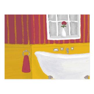 Baño brillantemente coloreado en postal color de r