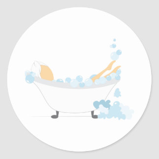 Baño burbujeante etiquetas redondas