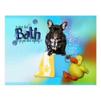 Baño caliente - dogo francés - trullo tarjetas postales