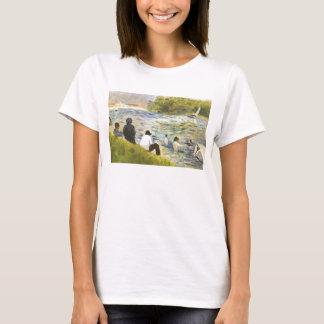 Baño con un caballo blanco en el río por Seurat Playera
