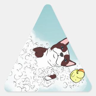 Baño de Boston Terrier Pegatina Triangular