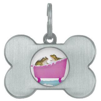 Baño de burbujas para las ranas del mascota placa de nombre de mascota