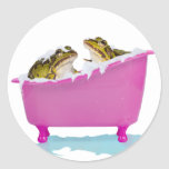 Baño de burbujas para las ranas del mascota etiquetas redondas