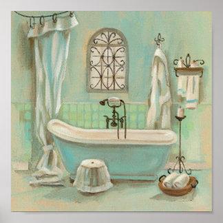 Baño de cristal de la teja póster