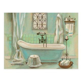 Baño de cristal de la teja postal