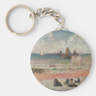 Baño de Dieppe por Gauguin, impresionismo del Llavero Redondo Tipo Chapa