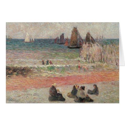 Baño de Dieppe por Gauguin, impresionismo del Tarjeta De Felicitación