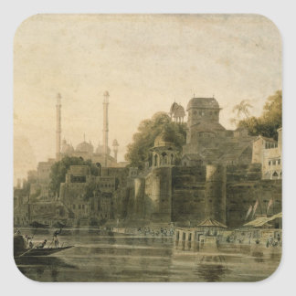 Baño de escena en el Ghat en el Ganges Pegatinas Cuadradases