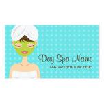 Baño de la mujer con el balneario verde del día de plantilla de tarjeta personal