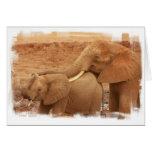Baño de la tarjeta de felicitación del elefante de