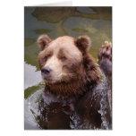 Baño de la tarjeta de nota del oso de Brown