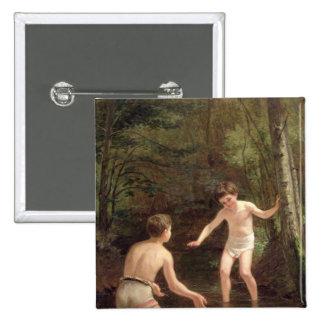 Baño de muchachos, 1873 pin cuadrada 5 cm