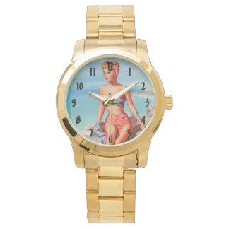 Baño de Pinups retros del vintage de la belleza Relojes De Mano