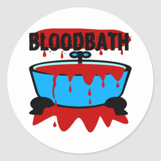 Baño de sangre con sangre y la tina pegatina redonda