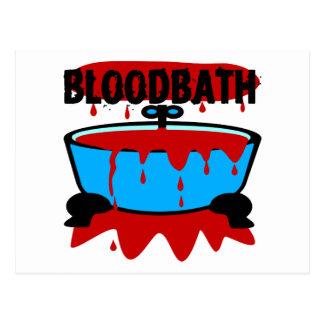 Baño de sangre con sangre y la tina postal