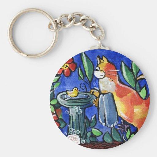 Baño del pájaro del gato de Tabby Llaveros Personalizados