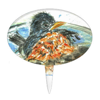 Baño del pájaro del petirrojo figuras de tarta