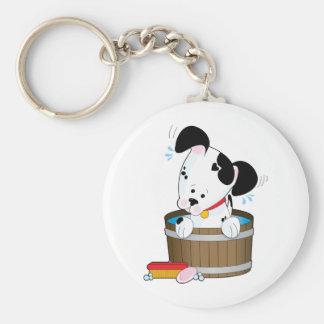 Baño del perro llavero redondo tipo pin