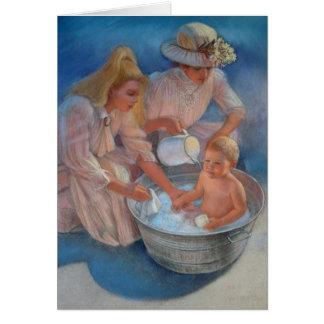 Baño del verano del bebé tarjeta de felicitación