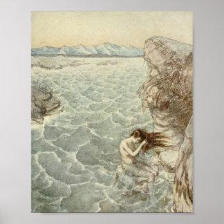 Baño en una ensenada del mar poster