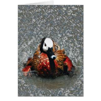 Baño hecho frente blanco de la acuarela del pato tarjeta de felicitación