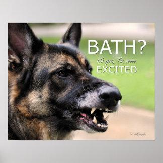 BAÑO Impresión divertida del poster del perro de