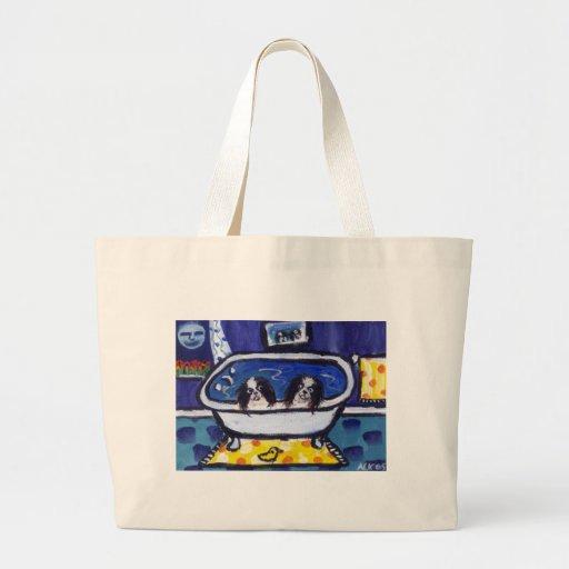 baño japonés de la barbilla bolsa lienzo