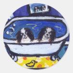 baño japonés de la barbilla etiqueta redonda