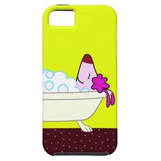 Baño para los Groomers del mascota - amarillo del iPhone 5 Carcasas