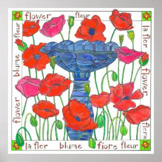 Baño rosado del pájaro del jardín de flores de la póster