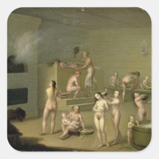 Baño ruso, 1825 calcomanias cuadradas