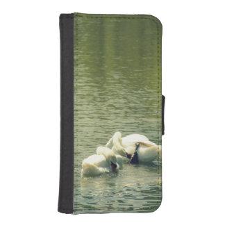 Baño sincronizado del cisne funda billetera para teléfono