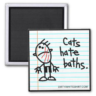 Baños del odio de los gatos imán de nevera