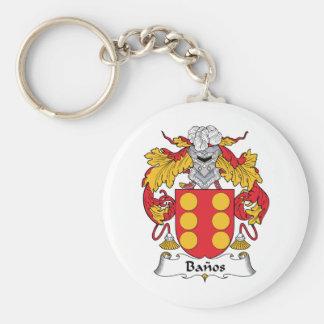 Banos Family Crest Basic Round Button Keychain