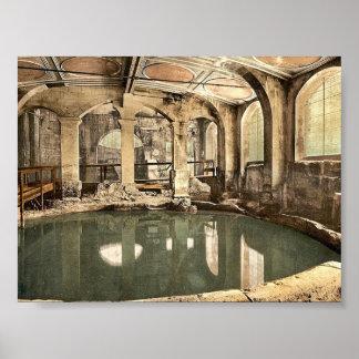 Baños y abadía romanos, baño circular, baño, Engla Poster