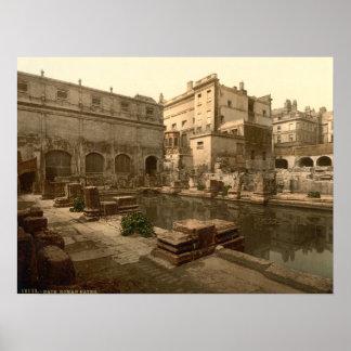 Baños y abadía romanos I, baño, Somerset, Inglater Póster