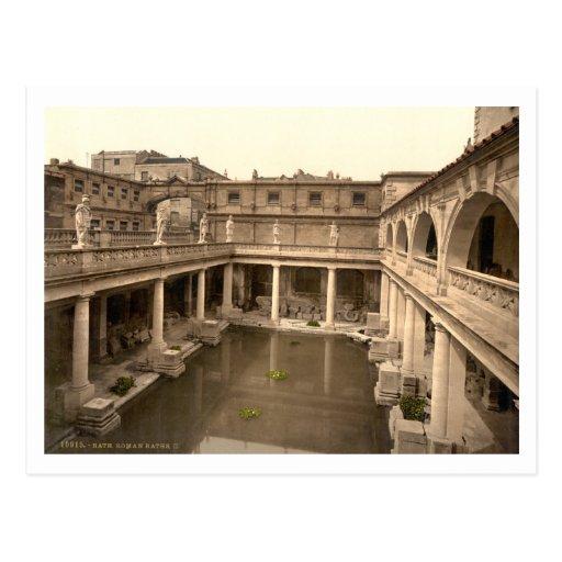 Baños y abadía romanos II, baño, Somerset, Postal