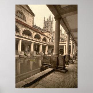 Baños y abadía romanos III, baño, Somerset, Inglat Póster