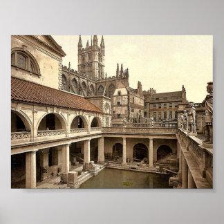 Baños y abadía romanos, IV, baño, Inglaterra P Póster
