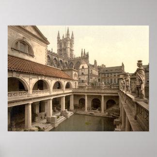 Baños y abadía romanos IV, baño, Somerset, Inglate Póster