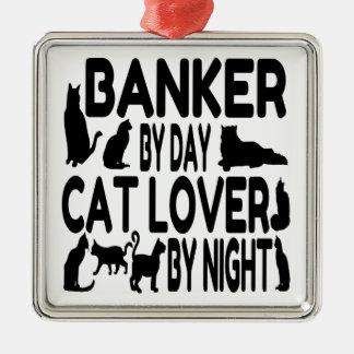 Banquero del amante del gato adorno navideño cuadrado de metal