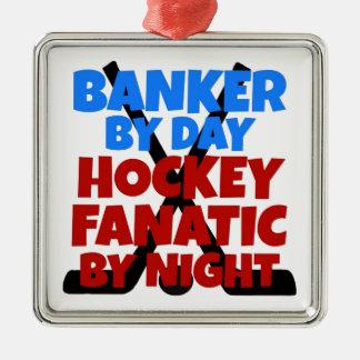 Banquero del amante del hockey adorno navideño cuadrado de metal