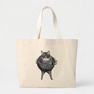 Banquero gordo del gato bolsa tela grande