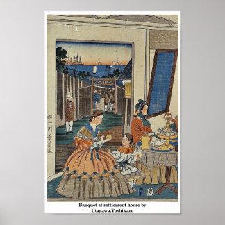 Banquet at settlement house by Utagawa,Yoshikazu Poster