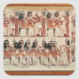 Banquet scene, from Thebes, c.1400 BC Square Sticker
