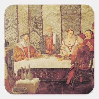 Banquete dado por Bartolomeo Colleoni Calcomania Cuadradas Personalizadas