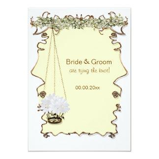 Banquete de boda amarillo blanco del compromiso invitación 12,7 x 17,8 cm