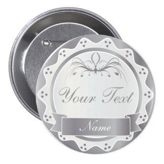 Banquete de boda blanco y de plata personalizado pin redondo de 3 pulgadas